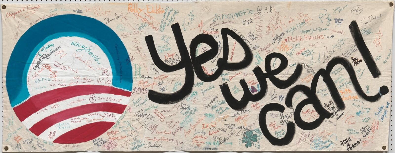 Banner from the Columbia, Missouri, presidential campaign headquarters of Barack Obama, 2008 /  National Museum of African American History and Culture