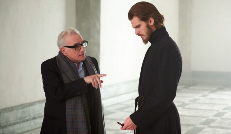 Martin Scorsese, with Andrew Garfield (Fr. Rodrigues) on the set of 'Silence' / photo courtesy Paramount