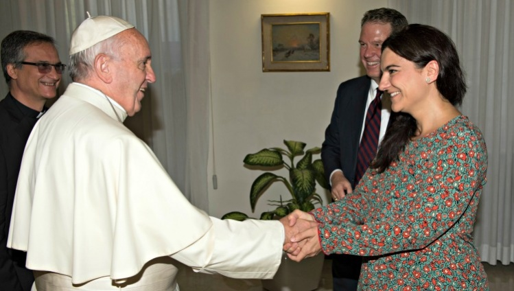 CNS/L'Osservatore Romano: Pope Francis greets Paloma Garcia Ovejero, Greg Burke
