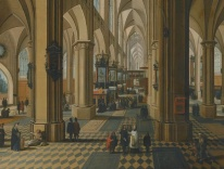 Pieter Neefs the Younger - Interior of a Gothic Church with Figures attending Mass / Wikimedia