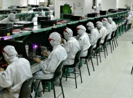 Workers in an electronics factory in Shenzhen, China.
