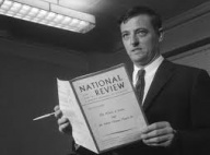 National Review founder William F. Buckley with an early edition of the magazine