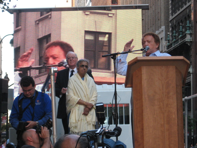Headliner: Jackie Mason at Empire State Building protest.