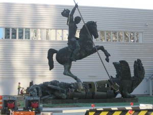 St. George slays the dragon of war. Sculpture at United Nations in New York.