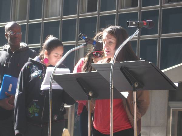High school students speak on 42nd Street, reflecting on the Passion of Christ and bullying.
